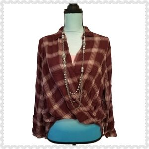 Hollister Tops - Hollister Buffalo Check Plaid Wrap Burgundy Top L